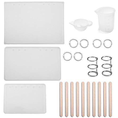 QTQHOME Juego de herramientas de moldes de silicona para A5 A6 A7 Cubierta del Notebook Casting Epoxi Resina Molde Diagi DIY Joyería
