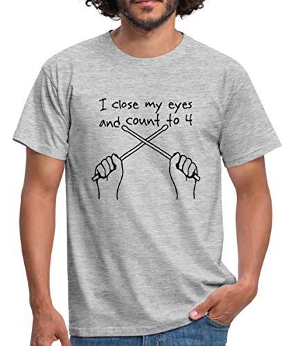 Schlagzeuger Sprüche Männer T-Shirt, L, Grau meliert