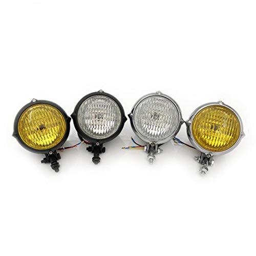 Universal Spitzen Scheinwerfer Vintage Motorrad Scheinwerfer H4 Lampe Für Harley Honda Chopper Sportster Softail Custom CG (ChromTransprent-Linse)