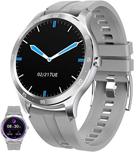 Smart Watch Fitness Tracker con monitor de frecuencia cardíaca rastreador de actividad con control de música Fitness Watch contador de pasos, gris
