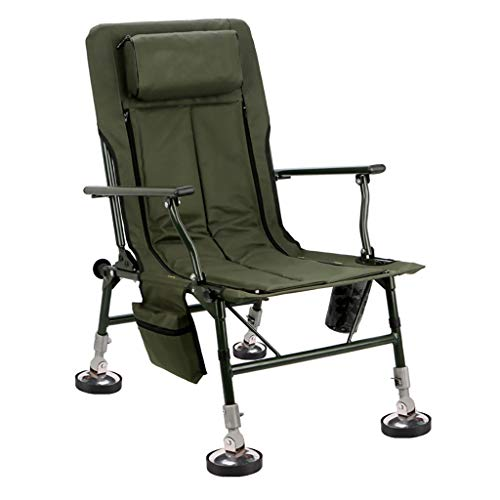 Fischerstühle Klappstuhl beweglicher Bequeme Sessel Breathable Angeln Stuhl Sit ermüdungs Camping Stuhl bewegliches Aluminium Hocker (Color : Green, Size : 55 * 77 * 90cm)