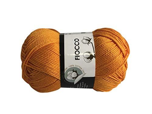 filati italiani Cotone Fiocco. 100% Cotton, 50g (125m) per Uncinetto e Maglieria (Arancione - 7265)