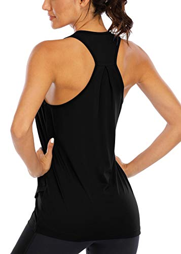 ICTIVE Camiseta sin mangas de entrenamiento para mujer, ajuste holgado, para yoga, para correr, sin mangas, sin espalda, L, Negro