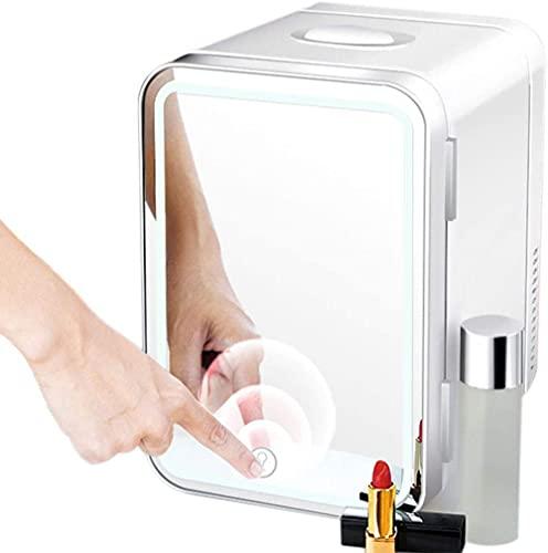 Beauty Mini-kylskåp 8L bärbar varmare AC/DC-kylare med hög kapacitet och spegel LED-ljus, lämplig för familjens sovsal för kontor