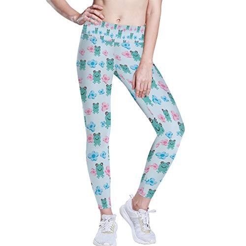 FANTAZIO Pantalones de yoga con patrón de rana de cintura alta, con...