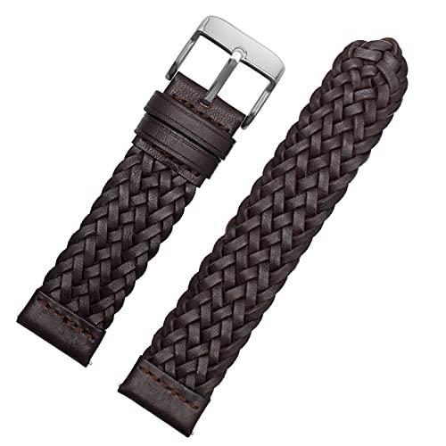 20mm 22mm 24mm trenzado de cuero genuino de la correa de liberación rápida Hombres Mujeres pulsera de reemplazo, marrón plata, 20mm
