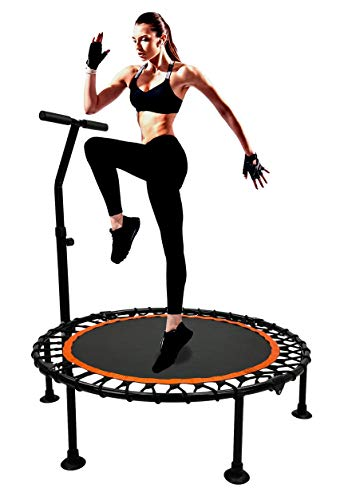 MaxxToys Trampolin Drinnen mit T-Stange - Trampolin Indoor mit verstellbarem Haltegriff - Klein Trampolin Fitness Jumping - Leise 100cm - bis 130kg