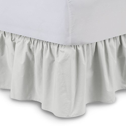 Ruffled Bed Skirt (Queen, Bone) 21 Inch Drop Bedskirt with Platform, Poly/Cotton Fabric, Available in All Bed Sizes and 16 Colors - Blissford