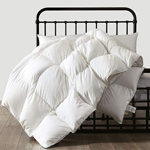 APSMILE Full/Queen All Season Hungarian Goose Down Comforter - Ultra-Soft Pima Cotton, 750FP 33oz Medium Warmth Year-Round Duvet Insert (90x90, White)
