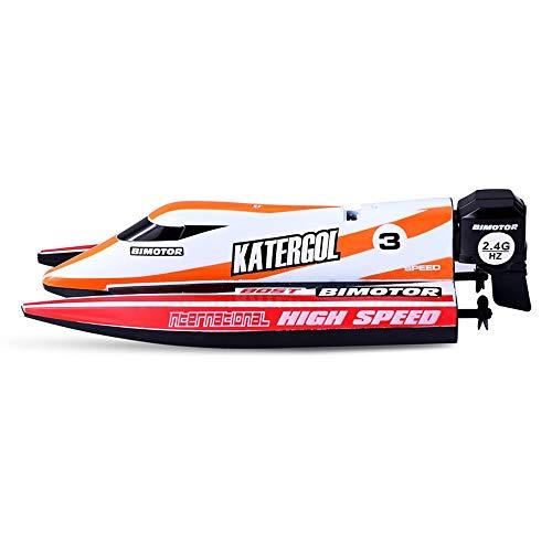 Tastak Fernbedienungsboot Kinder Hochgeschwindigkeits-Speedboat-Motorboot Mini wasserdichtes U-Boot-Modell wiederaufladbare Wasserkriegsspielzeug Mini-Fernbedienungsboot F1 Rennboot (Color : Orange)