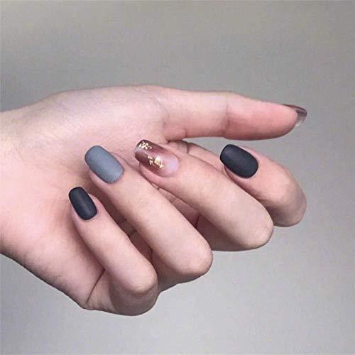 DCJ False nails black gray matte fake nail pieces manicure finished nail pieces 24 pieces
