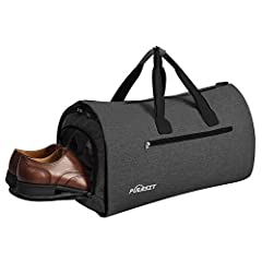 FOLDABLE DUFFEL BAG: It extends to 37.5''L x 20.8''W with 2.4 pound. Folded Size:22''*11''*12'' ,This garment bag has one spacious main compartment for suits or dress and 9 more separate pockets. It could keep your belongs neat and Orgnized, Also gar...