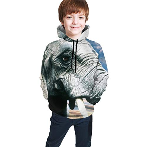 Youth Hoodie Sweatshirt, Elephant Trunk Ears Realistic 3D Digital Printed Pullover Tops for Boys Girls 7-20 Years Black
