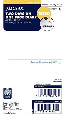Filofax 2020 Personal/Compact Two Days per Page Refill, Jan 2020- Dec 2020, 6.75 x 3.75 inches (C68423-20)