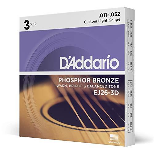 D\'Addario EJ26-3D - Juego de cuerdas para guitarra acústica, material de fósforo/bronce, .011 - .052, paquete de 3