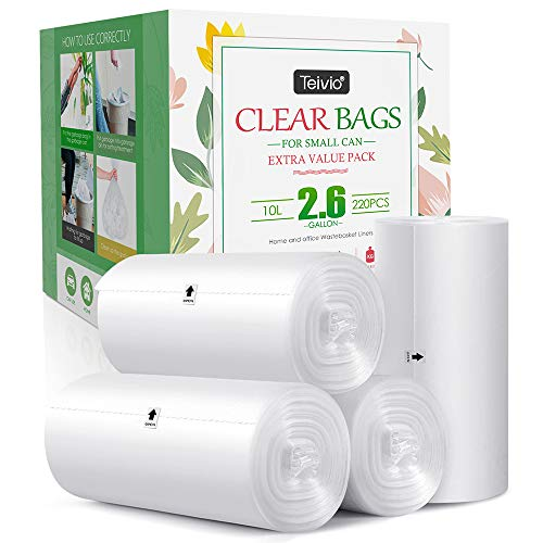 2.6 Gallon 220 Counts Strong Trash Bags Garbage Bags by Teivio, Bathroom Trash Can Bin Liners, Small Plastic Bags for home office kitchen,fit 10 Liter, 2,2.5,3 Gal, Clear