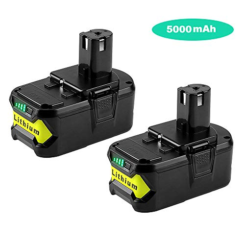 2Pack 5.0Ah 18V P108 Replacement for Ryobi 18Volt Battery Lithium ion P102 P105 P107 P108 P109