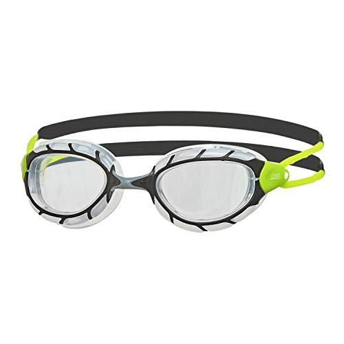 Zoggs Predator Occhialini da Nuoto Unisex Adulto, Nero/Lime/Trasparente, Regular