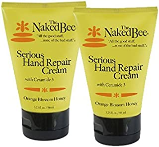 The Naked Bee Orance Blossom Honey with Ceramide 3, Serious Hand Repair Cream Lotion - 2 Pack