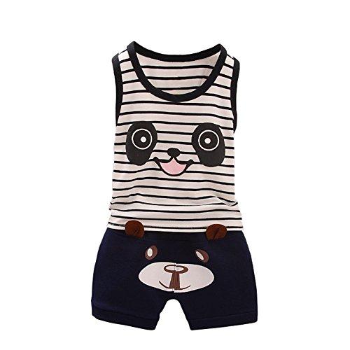 BOBORA Ensemble Bébé Garçon, Vêtements Bébé Chemise d'ours sans Manches + Pantalons