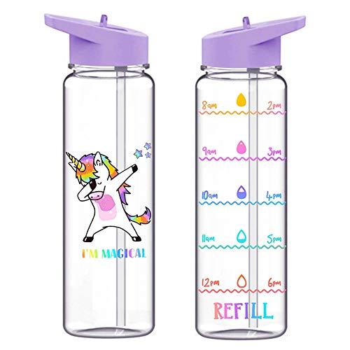 Miuse - Borraccia sportiva motivazionale con indicatore temporale, 720 ml, con cannuccia, senza BPA, per bambini, ciclismo, escursionismo Unicorno