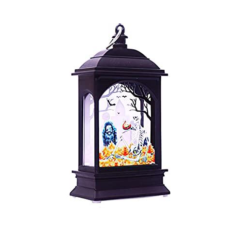 TLM Toys Cadena de luces de Halloween, calabaza, luz de vela plana, lámpara de noche, farolillo de calabaza LED, decoración para fiestas, patios, interiores y exteriores