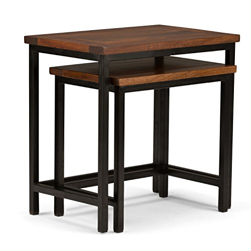 Simpli Home Skyler Solid Mango Wood & Metal 2 Piece Nesting Side Table, Dark Cognac Brown