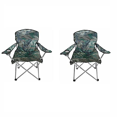 Mojawo 2\'er Set Comfort Anglersessel Campingstuhl Faltstuhl Anglerstuhl Regiestuhl mit Getränkehalter und Tasche in Camouflage gepolstert