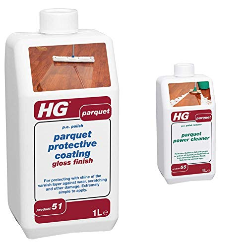 HG parquet Gloss Finish Protective Coating, 1L & 210100106 parquet Power Floor Cleaner