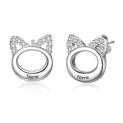 OPALSTOCK Earring Woman Cat Ear Name Earrings Women Personalise Private Individual Gift With Gift Box