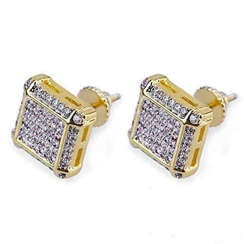 Pendientes chapados en dos colores, para hombre y mujer, de Hip-hop, joyería de cristal y amor de moda, pendientes de regalo de cumpleaños (dorado)