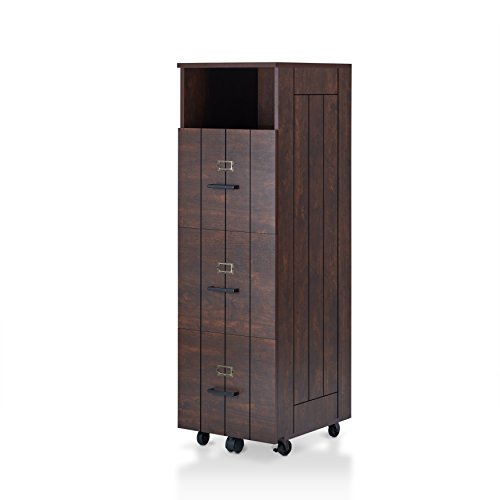 Furniture of America Gillian Rustic 1 Open Top Shelf, Plank-Style File Cabinet with 3-Drawer and Caster Wheels Base, Vintage Walnut