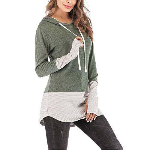 Gyubay Camiseta de Mujer Ligera Pulgar Costura con Capucha Sudadera Sudadera Mujeres Mangas largas para Mujer Estilo de Moda (Color : Verde, Size : Large)