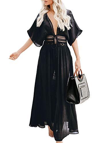 Vestido largo de verano para mujer, de gasa, blusa de playa, kimono, cárdigan, largo, con estampado floral negro A L