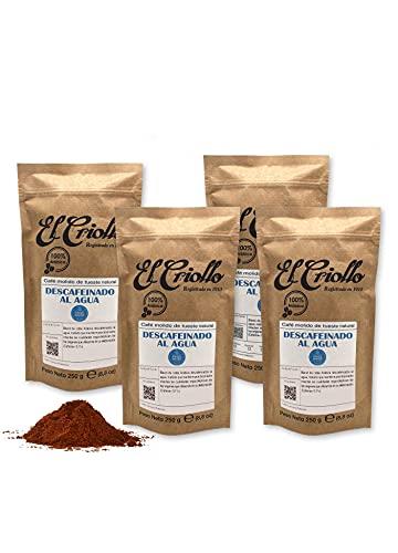 Café Descafeinado al Agua MOLIDO - El Criollo® | Café Gourmet 100% Arábica y Tueste Natural | Pack de 4x250 gr (1kg)