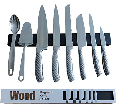 Black bamboo magnetic knife strip in gift box. Replace knife block with magnetic knife holder. Great for organizing kitchen knives and metal tools. Eco friendly. Premium Present brand. 17 inch