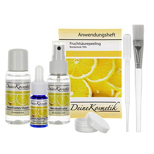 Fruchtsäurepeeling 70%, 0,5 pH, Profiheimbehandlung, AHA Glycolsäure Peeling, Fruchtsäure Peeling, Komplett Sets (Sofort-Starter-Set/Klein, 10ml)