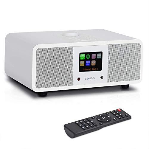 LEMEGA M3i 20 Watt Stereo Internetradio (DAB+/UKW-RDS,Digitalradio mit Bluetooth,Spotify Connect,WLAN,LAN,Subwoofer,Fernbedienung und App,USB,AUX,Radiowecker mit Dual-Alarm,Farbdisplay) - Weiß