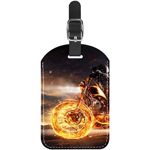 Etichette per bagagli Uomo Equitazione Fire Motor in Pelle da Viaggio Valigia Etichette 1 Pack