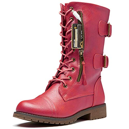 DailyShoes Lace Up High Heel Ankle Boots Women's Combat Booties Ankle Mid Calf Zip Pocket Buckled Bootie Casual Wear Strap Round Toe Side Knee High Exclusive Credit Card Boots Red,pu,12