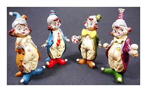 4er Set Mini Clown Musik Blume Karneval je 6,5 x 4 cm Harlekin Zirkus Figur Deko 4200120