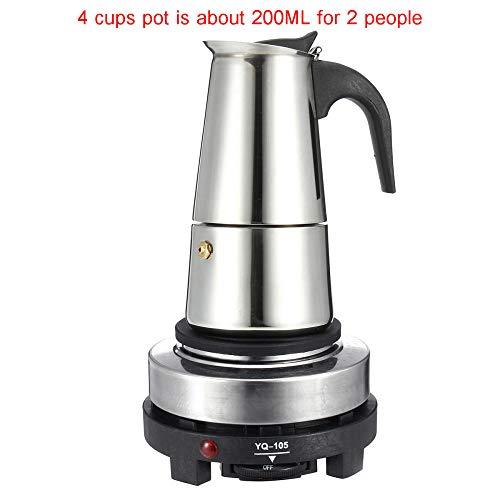 JJFU Koffie Grinders Molen Molen 200/450Ml Draagbare Espresso Koffiezet Pot Roestvrij Staal Met Elektrische Fornuis Filter Percolator Koffie Brouwerij Ketel Pot