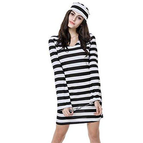 KINDOYO Womens Adult Sexy Convict Prisoner Fancy Dress Kostüm Cops und weibliche Gefangene Halloween Party Outfit (Schwarz-Weiß-Streifen)