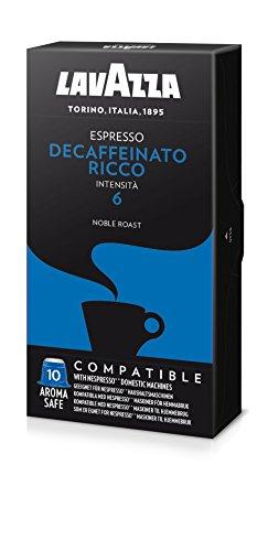 Lavazza Decaffeinato Espresso, Cápsulas de Café Descafeinado, Compatible con las Cafeteras de Cápsulas Nespresso, 10 Cápsulas de Café