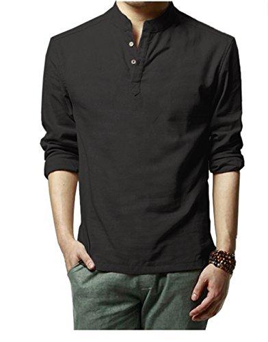 HOEREV Marke Men Casual Langarm-Leinen Shirts Strand-Hemden- Gr. XL Brust 102-106cm DE52, Farbe: Schwarz