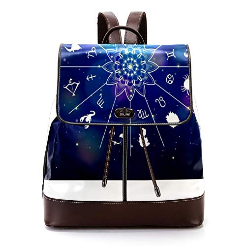 TIZORAX - Mochila de Piel sintética con símbolo de constelación del Zodiaco Vintage, para Mujeres y niñas