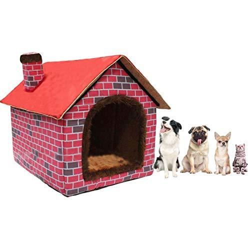 Hanshu Cálido interior suave caseta mascota grande perro casa perros camas con alfombrilla, rojo