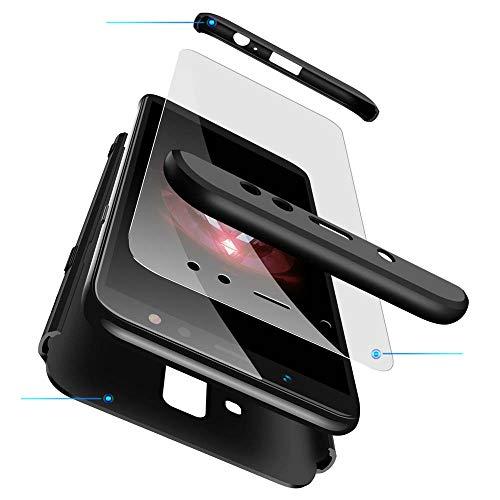 cmdkd Hülle Kompatibel mit Samsung Galaxy A6 Plus 2018 6.0 Zoll,Hardcase 3 in 1 Handyhülle 360 Grad Hülle Full Cover Hülle Komplett Schutzhülle Glatte Bumper + Panzerglas.Schwarz