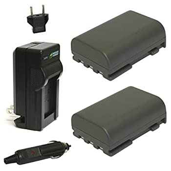 Wasabi Power Battery  2-Pack  and Charger for Canon NB-2L NB-2LH BP-2L5 BP-2LH and Canon DC301 DC310 DC320 DC330 DC410 DC420 Elura 40 50 60 65 70 80 85 90 EOS 350D 400D Digital Rebel XT XTi FV500 FVM20 FVM30 FVM100 FVM200 HG10 HV20 HV30 Optura 30 40 50 60 400 500 PowerShot G7 G9 S30 S40 S45 S50 S60 S70 S80 VIXIA HF R10 HF R100 HF R11 HG10 HV20 HV30 HV40 ZR100 ZR200 ZR300 ZR400 ZR500 ZR600 ZR700 ZR800 ZR830 ZR850 ZR900 ZR930 ZR950 ZR960