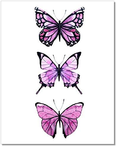 Butterfly Wall Art - 3 Purple Butterflies Decor - Watercolor Art Print - 11x14 – Unframed